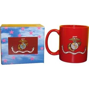12oz Military Red Marines Marine USMC EGA Ceramic Mug w/ 12x18 EGA Poly Flag