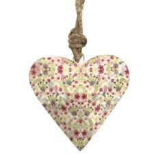 Coeur en Métal Fer à Suspendre Fleurs Blanc 8 cm x 8 cm