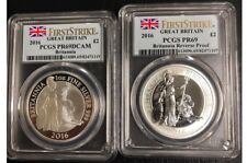 2016 2-Coin Silver 1 oz Britannia Proof/Reverse Proof Set PCGS PR69 RP69 FS