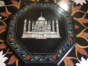 """15"""" Marble Coffee Table Top Multi Stone Floral & Tajmahel Inlay Decors H4368A"""