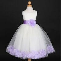 US Seller Ivory Baby Toddler Wedding Flower Petals Dresses 12M 18M 2/2T 4 6 8 10
