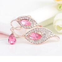 Fashion Women Jewelry Leaves Retro Crystal Rhinestone Brooch Pin Party Gift