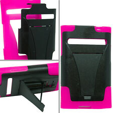 LG Optimus Dynamic L38G Advanced HYBRID KICK STAND Rubber Case Cover Black Pink