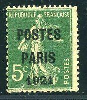 "FRANCE PREO N° 26  "" SEMEUSE 5 c VERT POSTES PARIS 1921 "" NEUF (x) TB."