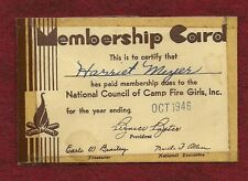 VINTAGE CAMP FIRE GIRL - 1946 MEMBERSHIP CARD - NOT SCOUT