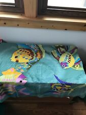Estate 100% Silk Made in Estonia Green with Colorful Painted Ocean Fish Women's