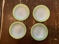 Vintage Pyrex Lime Green With Gold Trim 6.75 Inch Dessert Plate Set Of 4 M