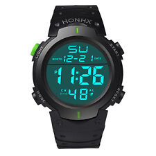 Hot Sale Waterproof Mens Boy LCD Digital Stopwatch Date Rubber Sport Wrist Watch
