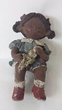 Sarah's Attic Muffin Blue Overalls #3335 Shelf Sitter African American Girl