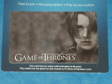 Game Of Thrones:  ARYA STARK  Collectible Plastic Top-Up Card UK Exclusive