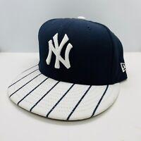 New Era 59Fifty Hat Mens MLB New York Yankees Black White Pinstripe Fitted Cap