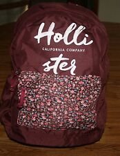 NWT Hollister by Abercrombie Women's Backpack burgundy logo & floral book bag