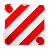 Warntafel mit Reflektoren 50x50 Rot Weiß Warnschild Rückstrahler für Heckträger