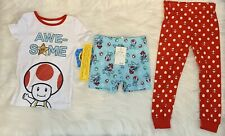 Boys 4 Super Mario 3 Piece Pajamas Set New With Tags
