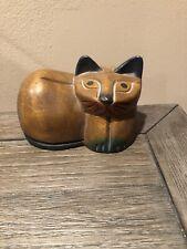 Wood Distressed Cat Figure