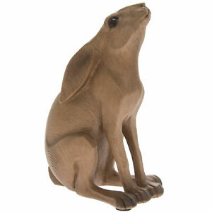 Lovely Wooden Effect Moon Gazing Sitting Hare Figurine Decorative Ornament NEW!