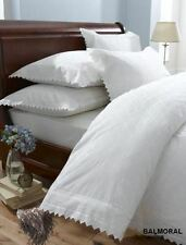 Balmoral White Broderie Anglaise Embroidered Double Duvet Cover Bed Set