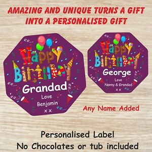 Personalised Birthday Gift Chocolate LABEL ONLY Quality Street Tub Birthday Gift