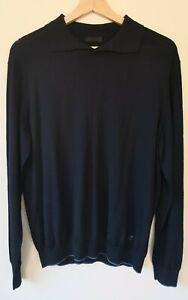 Mens Ermenegildo Zegna Wool Long Sleeve Polo Shirt Size Medium Designer Logo