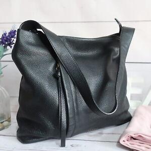 RADLEY Large Shoulder Hobo Work Bag Zip Top Black Leather Dust Bag Beautiful VGC