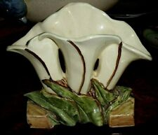 VINTAGE McCOY ART POTTERY - THREE TULLIP VASE (WHITE)