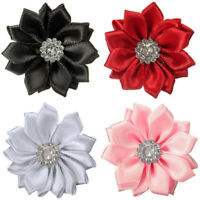 DIY 10PCS Satin Ribbon Flower with Crystal Bead Appliques/craft/Wedding Decor