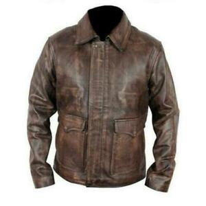 Indiana Jones Harrison Ford Classic Genuine Real Distressed Leather Biker Jacket