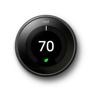 Nest Google T3018US 3rd Gen Programmable Thermostat - Mirror Black