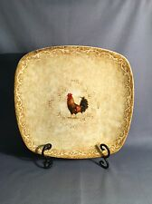 222 Fifth RUSTIC ROOSTER Dinner Plate 11 Inch Square Fine China