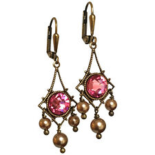 Boho Pink Rose Chandelier Earrings and Simulated Pearls w/ Crystal by Swarovski