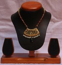 Vintage Indian Theva Thewa Work Gold Silver Amulet Necklace Jewelry S 675