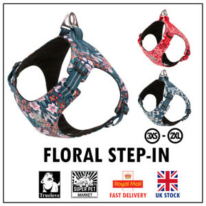 Step-in Dog Harness Truelove Floral Soft Adjustable Red Blue Pink XS S M L XL