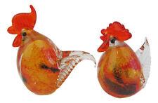 Art Glass Chicken Figurine Set/2  Orange/Red/clear Approx 11cm High