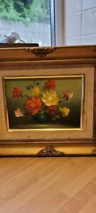 Vintage Oil On Board/ Canvas Still Life Flowers