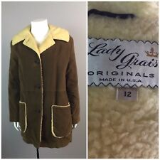 Vintage 1960s Brown Suede Button Up Wool Shearling Jacket Winter Coat Faux Fur S