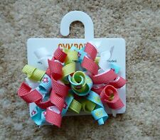 Gymboree Girls Hair Clips x 2 (Pink, White Green and Blue with Flowers), New