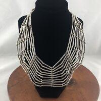 Vintage Silver Tone Metal Collar Bib Necklace 18 Bohemian Tribal Boho