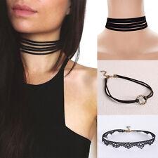 Hot Frauen Damen schwarze Spitze Velvet-Kragen Halskette Gotischer Punk Schmuck