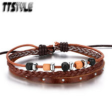 Vintage TTStyle Deep Brown Leather Mixed Wood Beaded Bracelet Wristband NEW