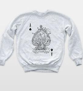 Ace Of Spades Poker Sweatshirt Indie Style Ocean Theme Jumper