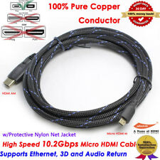 4K Smart Micro HDMI to HDMI Adapter Cable 10ft long for Cameras ,GoPro HERO 5
