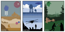 Star Wars Minimalist Poster Series by Gibson Darth Vader Yoda Sideshow nt Mondo