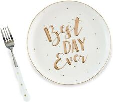 Mud Pie- Best Day Ever Plate and Fork Set New