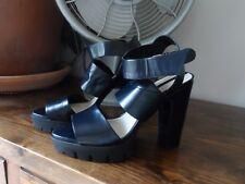 High Block Heel Sandals Shoes Platform Black Leather 6.5 Euro 40 Zara Woman