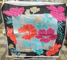 Vintage Vera Silk Scarf Gorgeous Flowers Vibrant Coral Turquoise Black & Pink