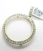 Sale Yellow Gold Genuine Natural Diamonds Coin Bezel 38MM Pendant Charm