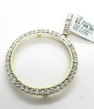 Real 10K Yellow Gold Genuine Natural Diamonds Coin Bezel 38MM Pendant Charm