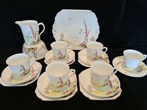 Shelley hand painted porcelain tea set Art Deco Foxglove Pattern 11626