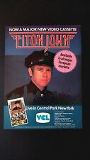 "ELTON JOHN "" LIVE IN CENTRAL PARK NEW YORK"" RARE ORIGINAL PRINT PROMO POSTER AD"
