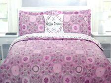 "Reversible 3 Pc TWIN COMFORTER Pillow Set ""Hello Pretty"" Pink Floral Mandala $68"